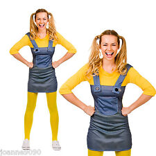 *LADIES TEEN BOOK DAY WEEK MISCHIEVOUS WORKER MINION FANCY DRESS COSTUME OUTFIT*