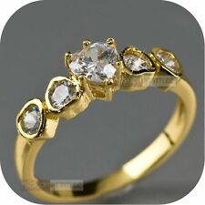 18k yellow gold gp women's wedding engagement dress SWAROVSKI crystal Ring heart