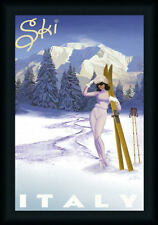 Ski Italy by Kem Vintage Style Travel Poster Framed Art Print Wall Décor Picture