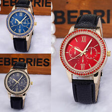 Women Multicolor Crystal Dial Quartz Analog Leather Band Wrist Watch