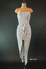 Vertical Stripe Goddess Shirring Wrap Knotted Strapless Tulip Tube Dress S M L