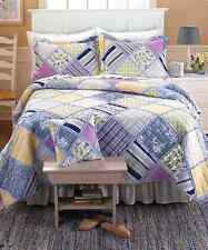 Ragtime Spring Quilt Bedspread Ruffled Borders Floral Stripes Full/Queen King