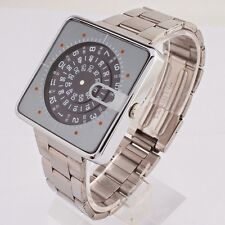 Square Face Jump Hour Direct Read Retro 1970s Style Watch Mens Wrist Watch