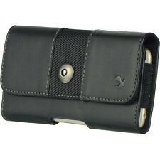 Black Horizontal Leather Pouch Holster Belt Clip Carrying Case for Phones