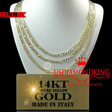 14K REAL SOLID YELLOW ITALIAN GOLD FIGARO LINK CHAIN NECKLACE 2.5MM 16''~22''