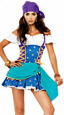 WOMENS LADIES SEXY GYPSY FORTUNE TELLER FANCY DRESS COSTUME PIRATE OUTFIT 6 - 16