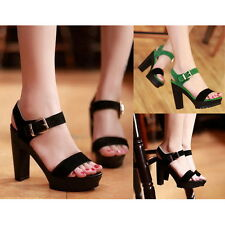 New Womens Buckle Slingback Platform Chunky High Heels Pumps Prom Sandals Shoes