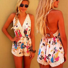 Chiffon Flower Print Cut out Playsuit Sleeveless Short Pants Rompers Jumpsuits