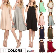 USA Women Scoop Neck A-Line Dress Long Tunic Top Cap Sleeve Solid Knit Trapeze