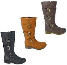WOMENS KNEE HIGH BOOT LADIES LOW HEEL BUCKLE STRAP BIKER RIDING BOOTS SHOES SIZE