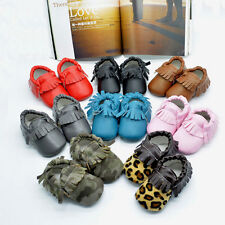 Lovely Boy Girls Infant Toddler Soft Fringe Leather Moccasins Soled Shoes 2 Size