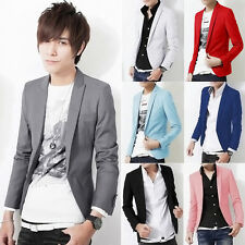 Fashion Men Casual Slim Fit One Button Suit Korean Office Blazer Jacket Coat Top