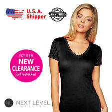 Next Level Ladies Woman V-Neck Soft Wash T-Shirt Black 3400L (S-L)