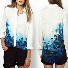 Fashion Women's Loose Floral Chiffon Long Sleeve Blouse Shirt Casual Lady Tops