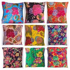Cushion Cover: Indian Handmade 100% Cotton Embroidered Kantha Cushion Cover 16""