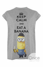 PRIMARK Ladies Despicable Me MINIONS KEEP CALM AND EAT A BANANA Logo T shirt