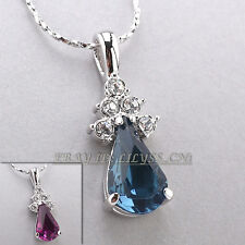 Fashion Simulated Amethyst Charm Necklace Pendant 18KGP Crystal
