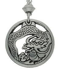 Handmade Treasure Keeper Magical Dragon Pewter Chain Pendant ~ Luck, Fortune