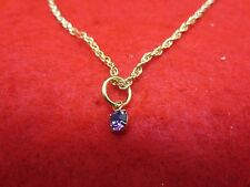 "14 KT GOLD PLATED 9 1/2"" SMALL ROPE CHAIN ANKLET W/ AUSTRIAN CRYSTAL BIRTHSTONE"