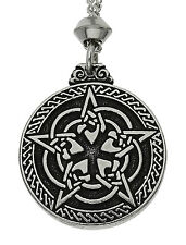 Handmade Celtic Knotwork Pentacle Pentagram Pewter Chain Pendant~For Protection