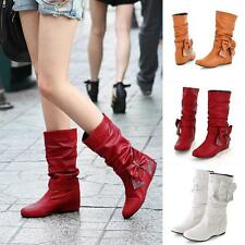 Cute Women's Low Heel Mid-Calf Bowknot Boots Shoes US All Size New Arrival