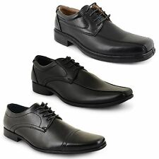 New Mens Black Lace Up Faux Leather Formal Office Work Casual Shoes Boots Size