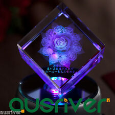 Custom Made Laser Micro Engraved Crystal Figurine Crafts Birthday Christmas Gift