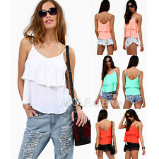 Fashion Women Summer Loose Chiffon Sleeveless Vest Shirt Tops Blouse Size 6-20
