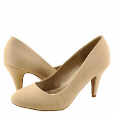 Women's Shoes Qupid Trenda 01 Classic Round Toe Low Pump Nude Nubuck *New*