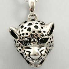 Fashion Glaze Rhinestone Leopard Head Necklace Pendant 18KGP Crystal