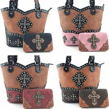 Western Cowgirl Tooled Leather Rhinestone Cross Handbag Purse with Wallet