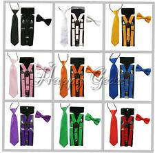 Kids Boys Baby Candy Color Clip-on Y-Back Braces Suspenders Bow Tie Necktie Set