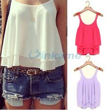 Summer Sexy Women Casual Sleeveless Chiffon Shirt Loose Vest Tank Top Blouse