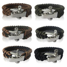 550 Survival Paracord Parachute Cord Bracelet with Adjustable Metal Shackle