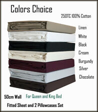 250TC 100% Cotton 50cm Deep Wall King Size Bed Fitted Sheet & 2 Pillowcases Set