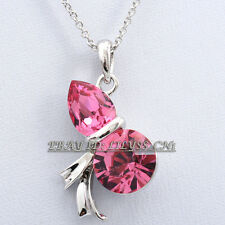 Fashion Simulated Gem Lucky Calabash Necklace Pendant 18KGP Rhinestone Crystal