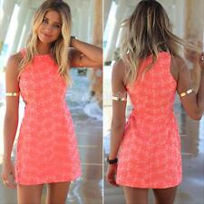 Sexy Women Summer Lace Sleeveless BodyCon Casual Party Evening Short Mini Dress