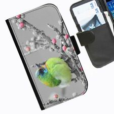 Green Bird Leather wallet phone case for iPhone Samsung Sony Huawei Blackberry