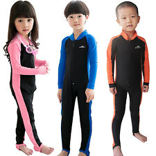 Kids Full Length Wetsuit UV Ruche Swim Suit Water Sports Surf Swim Driving Wear