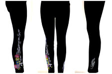 Plus Size Full Length Leggings Embellished Rhinestone Dragonfly Butterfly Floral