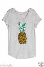 H&M NWT Conscious Pineapple Sequin Embroidery Fruit Tee Top Shirt Grey Sz S M L