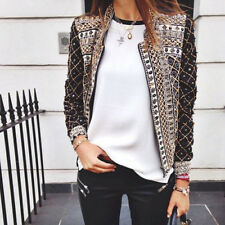 New Womens Ladies Rivet Print Slim Casual Summer Blazer Suit Jacket Coat Outwear