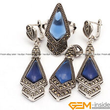 Rhombus Stone Antiqued Tibetan Silver Marcasite Jewelry Set Ring Pendant Earring