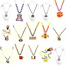 NCAA Teams Mardi Gras Beads Necklace with Medallion - Choose Your Team