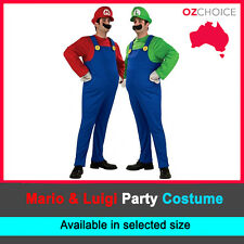 Mens Super Mario Luigi Brothers Fancy Party Costume Halloween Dress Up Nintendo