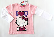 NWT: New 3T Hello Kitty Pink 'I Heart You' Sparkle Layered Shirt, Rtls $18