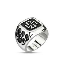 Maltese Iron Cross Flames Silver Black Stainless Steel Fashion Ring Sizes 9-14