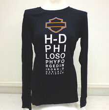 "Harley-Davidson Women's Long Sleeve Black ""Subliminal"" Awesome Shirt M, L"