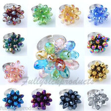Adjustable Crystal Glass Teardrop Flower Beads Fashion Party Finger Ring Colors