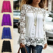 Hot Women Lady Sheer Sleeve Embroidery Lace Crochet Tee Chiffon Shirt Crazy Sale
